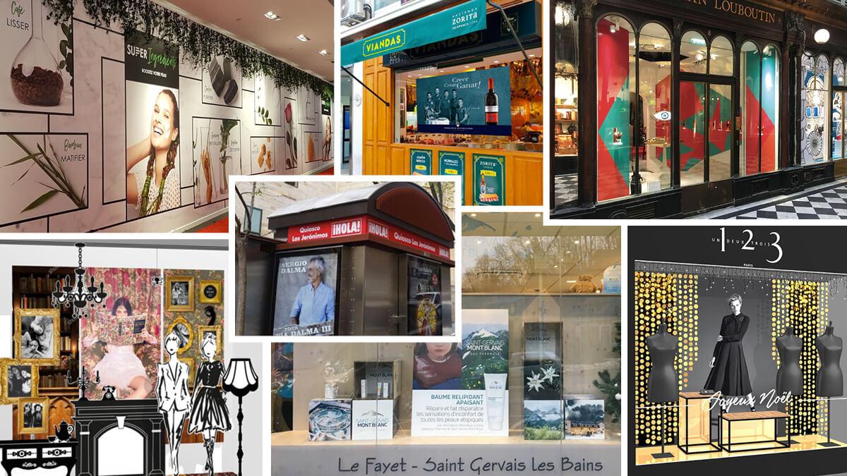 Agencement de Vitrine, Merchandising,  Vitrine de Luxe, Rampe Vitrine Intérieure Événementielle Habillage de vitrine Kiosque