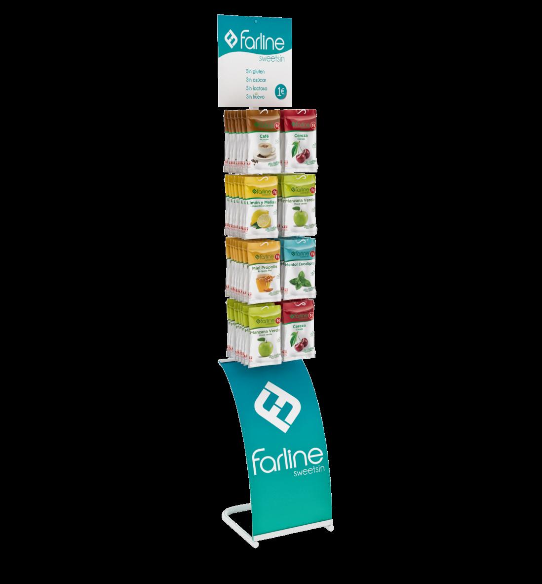 PLV Farmacia: Expositor permanente para caramelos Farline
