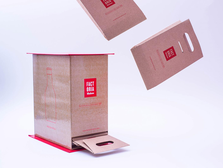 packaging fabricado por Mayence para botellas