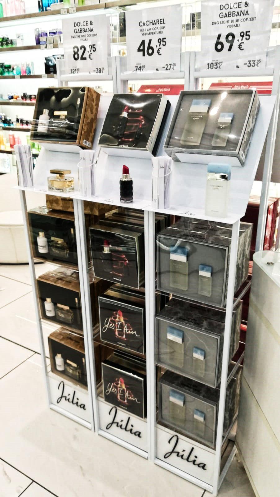 expositor perfumes con precios perfumes Juliá