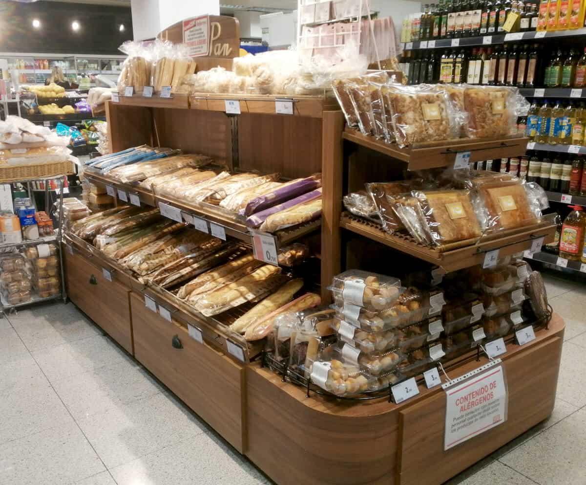 góndola de supermercado para pan